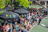 United Kingdom, London, Camden, Camden market on Sunday, food court
