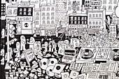 United Kingdom, London, East End, Spitalfields area, Brick Lane, hipster quarter, frescoes