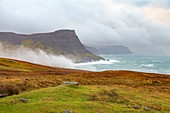 United Kingdom, Scotland, Highlands, Inner Hebrides, Isle of Skye, Neist Point, coast with a very strong wind