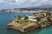 FORT SAINT-LOUIS WITH POINTE SIMON AND THE CITY CENTER, MARTINIQUE, FRENCH ANTILLES, FRANCE