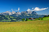 Mountain farm with Kaiser Mountains in the background, Kitzbühel Alps, Tyrol, Austria
