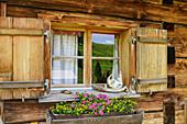 Window with floral decorations, Alpe Steris, Großes Walsertal Biosphere Reserve, Lechquellen Mountains, Vorarlberg, Austria