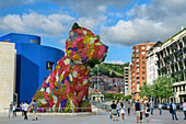 Puppy flower sculpture, by Jeff Koons, Guggenheim Museum, Bilbao, Basque Country, Spain
