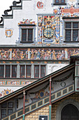 Detail shots of the facade of the old town hall on the island of Lindau, Bavaria, Germany, Europe