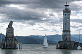 View of the harbor entrance of Lindau, Bavaria, Germany, Europe