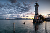View of the lighthouse at the port of Lindau, Bavaria, Germany, Europe