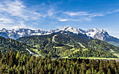 Garmisch-Partenkirchen panorama with Alpspitze and Zugspitze Bavaria Germany