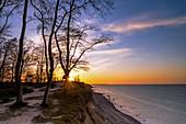 Sunset on the steep coast, Weissenhäuser Strand, Eitz, Baltic Sea, Ostholstein, Schleswig-Holstein, Germany