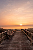 Morning mood at the beach entrance in Dahme on the Baltic Sea, Ostholstein, Schleswig-Holstein, Germany