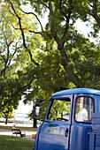 Blue truck on the Danube promenade in Bratislava, Slovakia