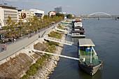 Jetty and promenade on the Danube in Bratislava, Slovakia