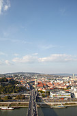 View from the UFO observation deck of the Danube and the city of Bratislava, Bratislava, Slovakia