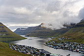 Top view of the town and fjord of Klaksvík, Faroe Islands.