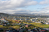 Top view of the capital of the Faroe Islands, Thorshavn, in sunshine.
