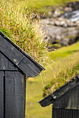Deitail of a historic house with a grassy roof in one of the most beautiful places in the world, Saksun, Streymoy Island in the Faroe Islands.
