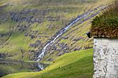 Wasserfall mit einem grasbewachsenem Dach im Vordergrund, Saksun, Insel Streymoy auf den Färöer Inseln