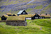 View of the historic houses of Saksun, with a grassy roof, Streymoy Island in the Faroe Islands.
