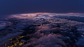 Last light between the clouds, aerial shot, Ruhr area, Germany