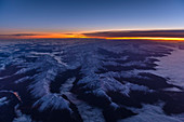 Sunrise above the alps, aerial shot, Austria