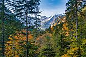 Blick auf die Lalidererwände im Herbst, Hinterriss, Tirol, Österreich