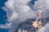 The flank of the Zugspitze in thick fog, Ehrwald, Tyrol