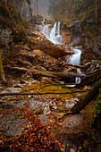Herbst am unteren Lainbach Wasserfall, Kochel am See, Bayern, Deutschland