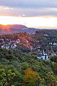 View from Metilstein to Eisenach with the Burschenschaftsdenkmal, Thuringia, Germany, Europe