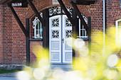 Entrance gate to Schlosshotel Pütnitz, Ribnitz-Damgarten, Mecklenburg-Western Pomerania, Germany