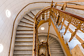 Staircase in Schwerin Castle made of marble with carved wooden parapet, Mecklenburg-Western Pomerania, Germany