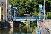 The lift bridge in Plau am See was built in 1916 and it is lifted up on larger ships, Mecklenburg-Western Pomerania, Germany