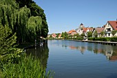 Houses on the river Elde in Plau am See, Mecklenburg-Western Pomerania, Germany