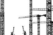 Schwarz-Weiß Silhouetten, Baukräne und Hafenkräne, Hafencity, Hamburg-Mitte, Hamburg, Deutschland