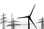 Schwarz-Weiß Silhouetten von Strommasten und Windrad, Waltershof, Hamburg, Deutschland