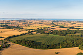 View from the balloon over Seegalendorf to the Baltic Sea, Ostholstein, Schleswig-Holstein, Germany