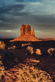 West Mitten Butte at sunset in Monument Valley, Arizona, Utah, USA, North America