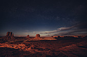 West Mitten Butte, East Mitten Butt and Merrick Butte with starry sky, Monument Valley, Arizona, Utah, USA, North America