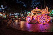 Christmas decorated and illuminated park with carriage, Medellin, Colombia, South America