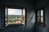 View through window from St Wenzel's tower to Naumburg an der Saale, Saxony-Anhalt, Germany, Europe