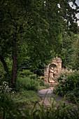 "Statue in the palace garden ""Blooming Baroque"", Ludwigsburg Palace, Stuttgart Metropolitan Region, Baden-Wuerttemberg, Germany, Europe"