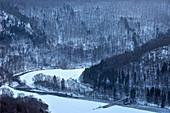 View from Eichfels to Donauschleife, Upper Danube Valley Nature Park near Sigmaringen in winter, Swabian Alb, Baden-Wuerttemberg, Germany, Europe
