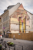 street art, mural on a demolished house in the old town, Lutherstadt Wittenberg, Saxony-Anhalt, Germany, Europe