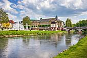 Rose garden and Ludwigsbrücke in Bad Kissingen, Bayen, Germany