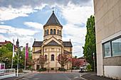 BAD KISSINGEN, GERMANY - CIRCA MAY, 2020: The Erloeserkirche of Bad Kissingen, Bavaria, Germany