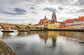 The Stone Bridge in Regensburg, Bavaria, Germany