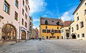 Rathausplatz in Regensburg, Bavaria, Germany