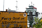 Sign for the Fare Linia 11, in the background the ship, Venice Lagoon, Pellestrina, Veneto, Italy, Europe