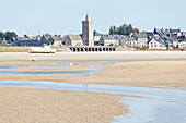 The natural harbor at Portbail in Normandy at low tide in summer. Cotentin Peninsula, France.