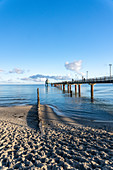 Morning mood on the Baltic Sea beach of the Baltic Sea Spa Zingst, Fischland-Darss-Zingst, Mecklenburg-Western Pomerania, Germany.