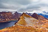 On the Husfjellet mountain on Senja island, Norway
