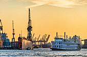 Lousina Star tour boat in front of Hafenkraenen, Port of Hamburg, Germany, Europe